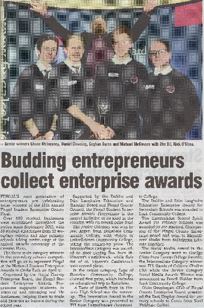 Budding entrepreneurs collect enterprise awards front page preview