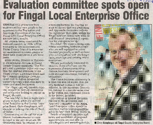 Evaluation Committee Spots Open for Fingal Local Enterprise Office front page preview