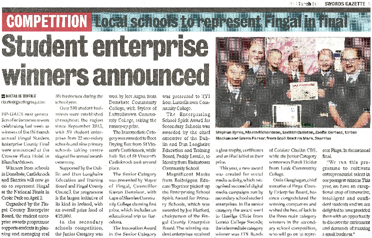 Student Enterprise 2014 Winners Announced front page preview