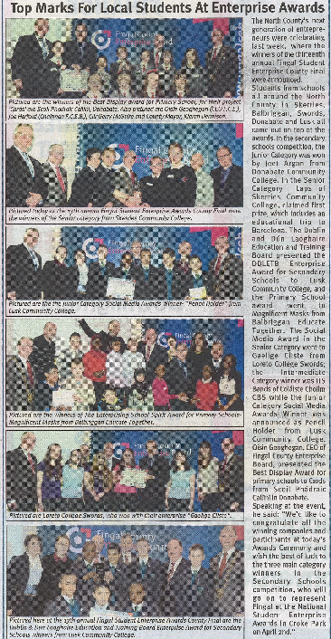Top Marks for Local Students At Enterprise Awards front page preview
