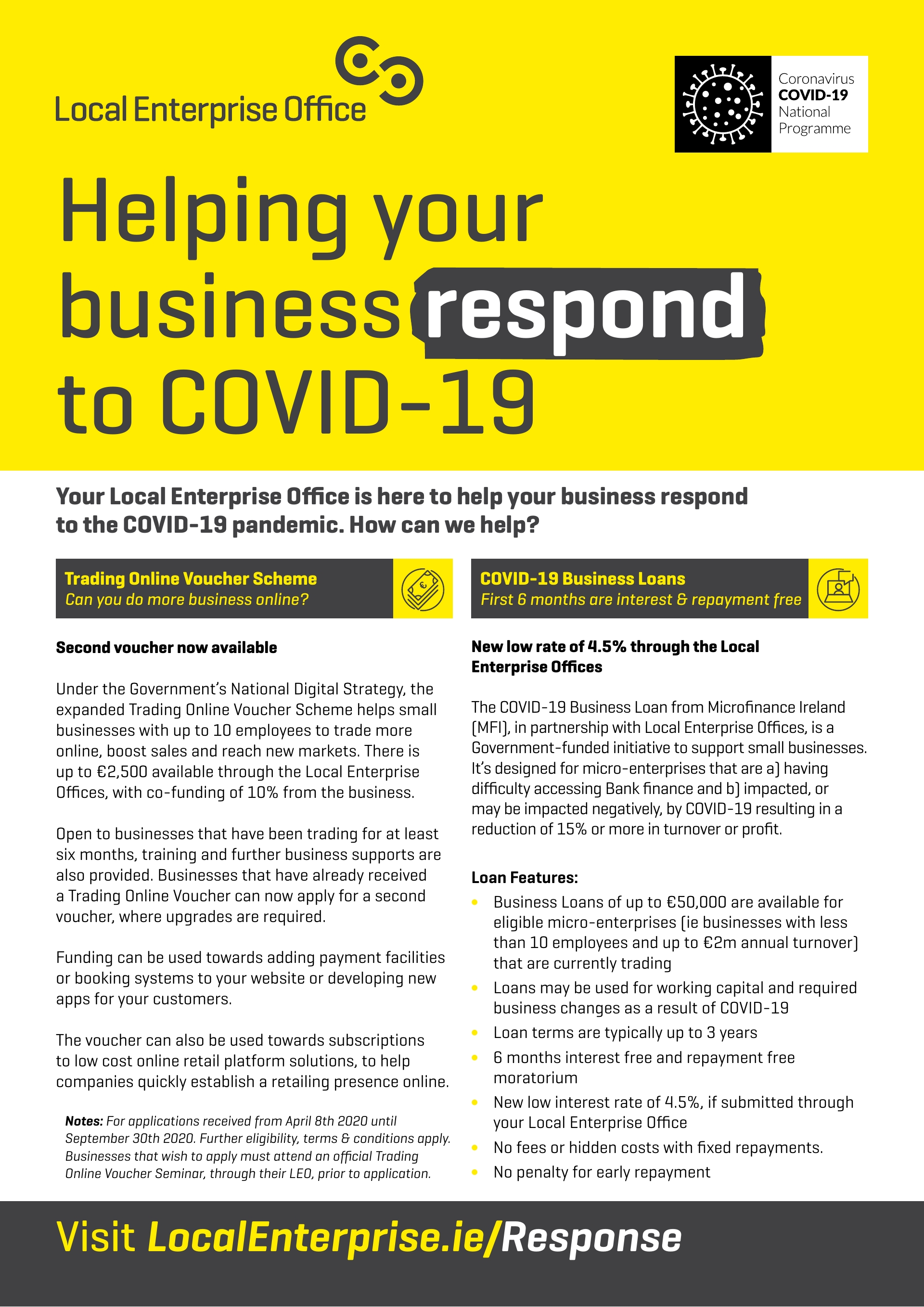 Your Local Enterprise Office is here to help your business respond  to the COVID-19 pandemic. How can we help?