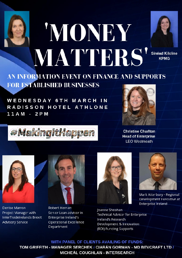 Money Matters Event 6th March in Radisson Hotel, Athlone