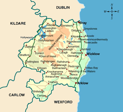 photo regarding Printable Road Map of Ireland named Map of County Wicklow - Nearby Organization Office environment - Wicklow