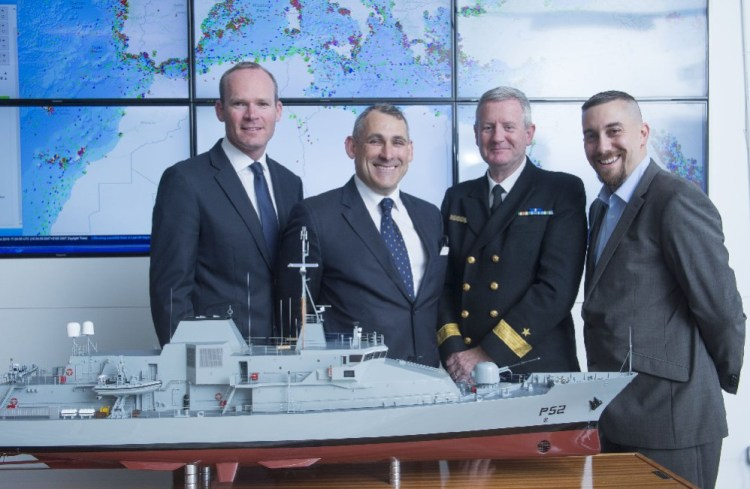 l/r Mr Simon Coveney TD, Minister of Defence, Agriculture, Food and the Marine; Rory Fitzpatrick, ceo,National Space Centre; Commodore Hugh Tully, Flag Officer Commanding Naval Service and John Makarus, operations director, Voyager IP at the official launch of the new satellite service on Thurs 9th July 2015.