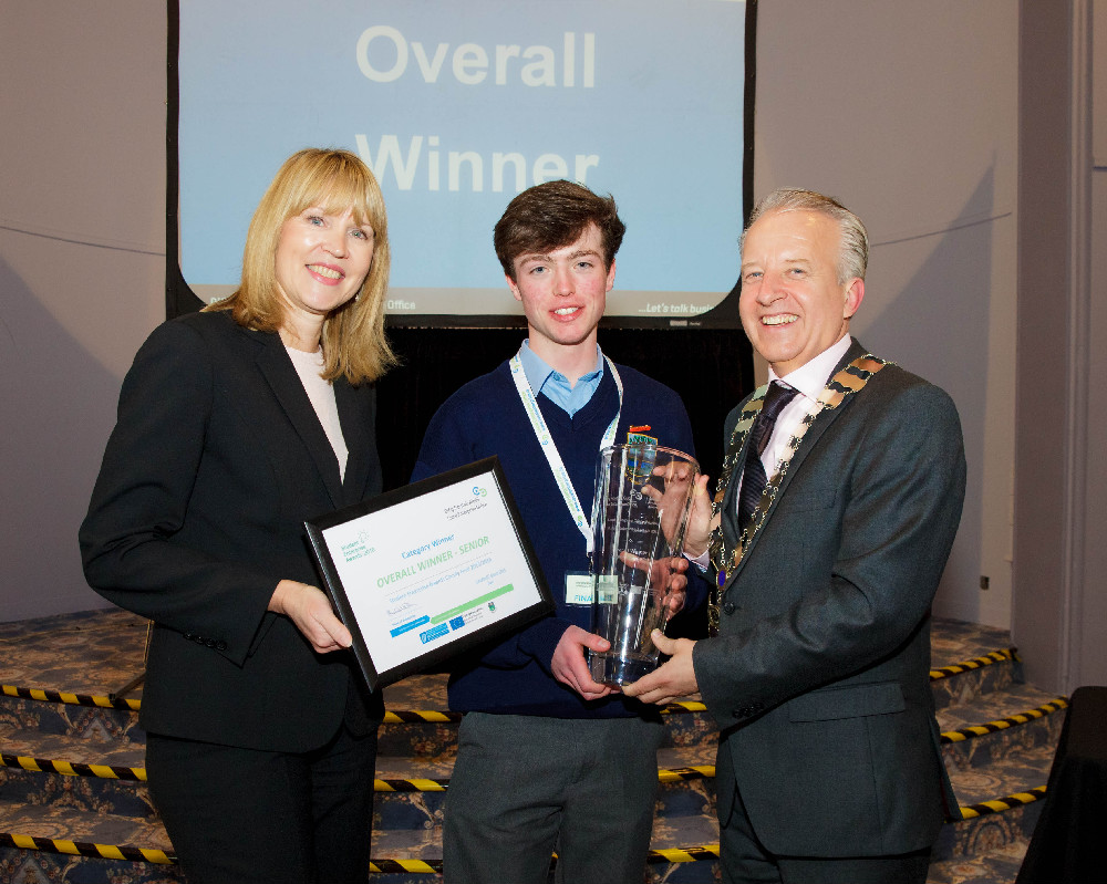 Luke Byrne, Headphone Helpers with Cllr John Ryan and Sheelagh Daly Head of LEO Wicklow