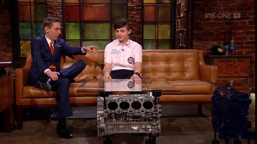 Wicklow Student entrepreneur Cillian Scott revs things up on the Late Late SHOW