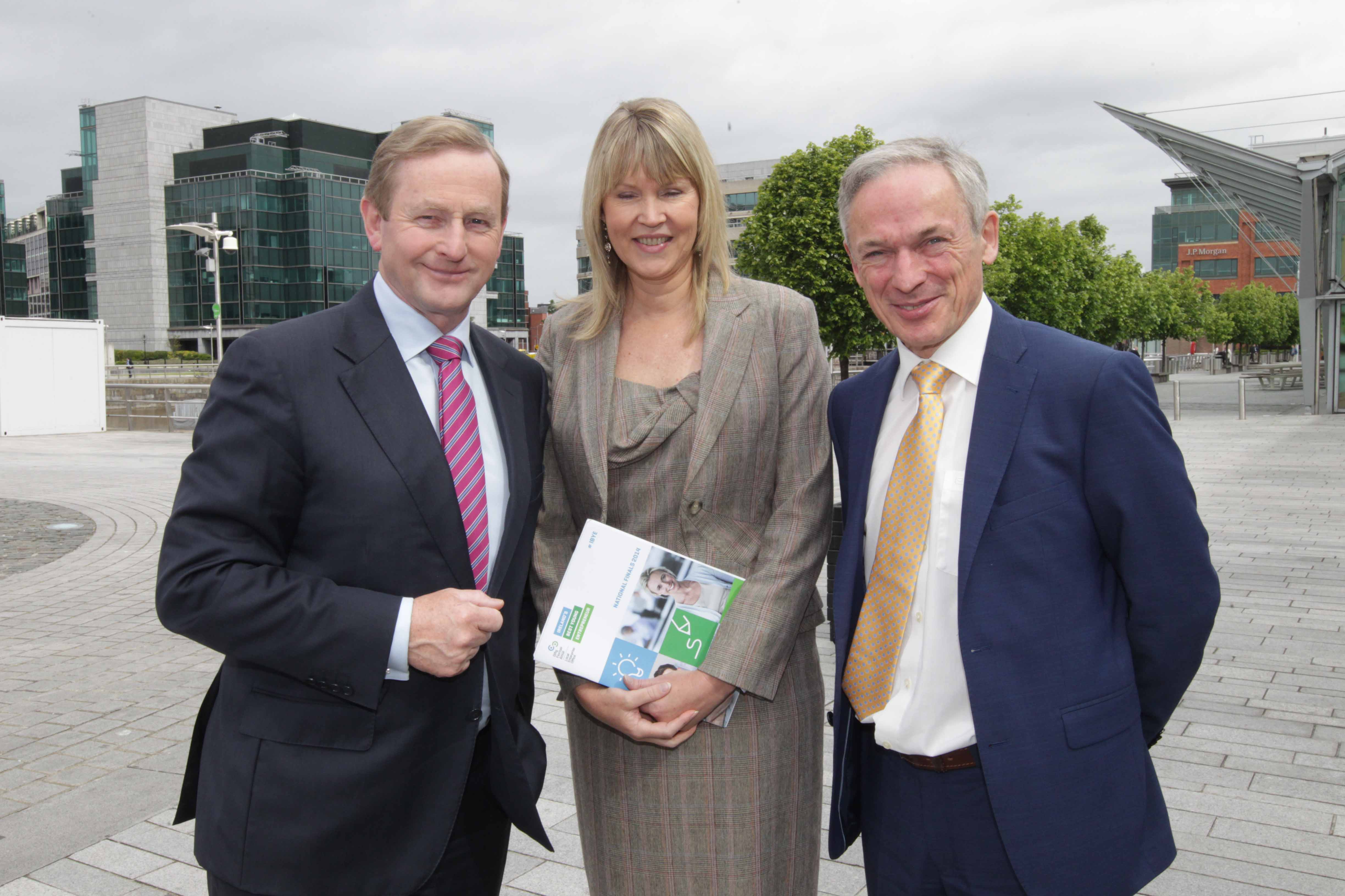 An Taoiseach Enda Kenny TD and Minister Richard Bruton with Sheelagh Daly Wicklow LEO at launch of IBYE 2015